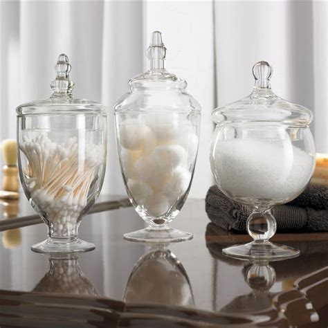 bathroom glass jar ksp spa apothecary jars set of 3