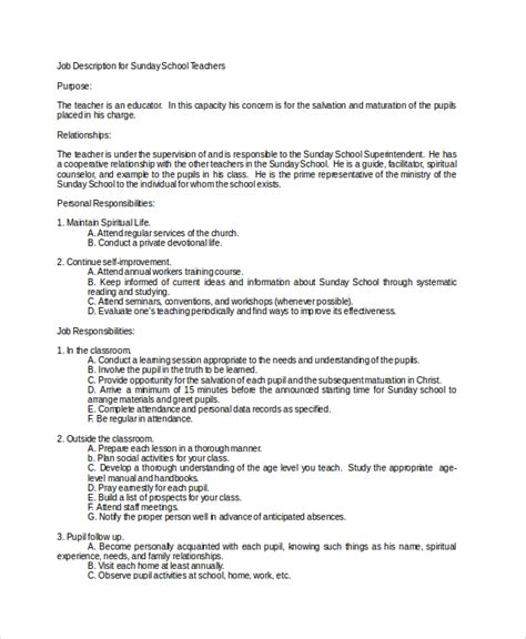 12 Teacher Job Descriptions Free Sle Exle Format Free Premium Templates Sunday School Description Template