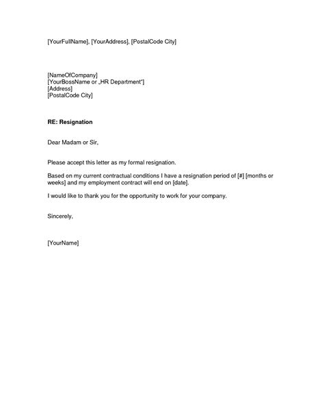 notice template letter two weeks notice letter pdf doc format