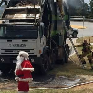 Exhaust Systems Queanbeyan Santa Flags Burning Recycling Truck In Queanbeyan