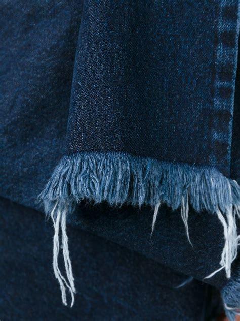 Frayed Denim lyst marques almeida frayed edge draped denim dress in blue
