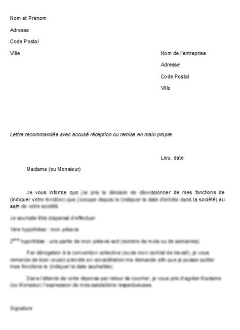 Modèle De Lettre De Démission Vdi Application Letter February 2016