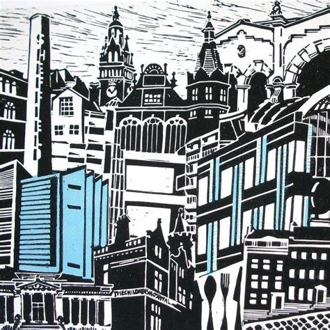 Landscape Forms New York Quot Sheffield Quot Montage Lino Print By Zoe Badger Http Folksy