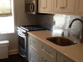 kitchen with stainless steel backsplash stainless steel 1x2 kitchen backsplash subway tile outlet
