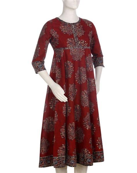 dress pattern indian womens cotton kalamkari empire line anarkali long kurta