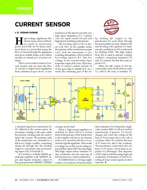 current sense resistor application note current sensor circuit for high power appliance on detection 171 sensor circuit 171 sensorzine