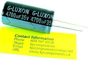 g luxon capacitors 4700uf 35v cap 105 176 c radial leads kp components inc