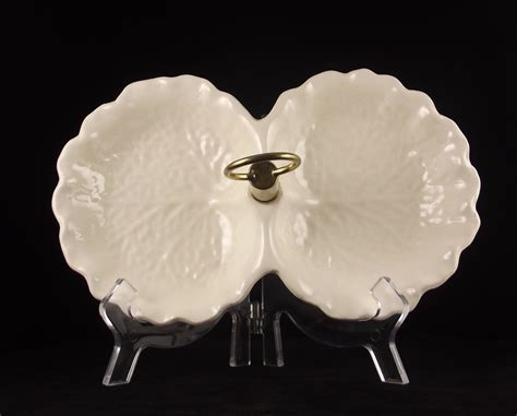 pimmeiro rainha white cabbage leaf plate vintage stangl pottery candy dish white cabbage leaf brass
