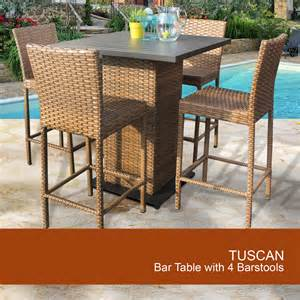 Patio Furniture Pub Table Sets Tuscan Pub Table Set With Barstools 5 Outdoor Wicker Patio Furniture