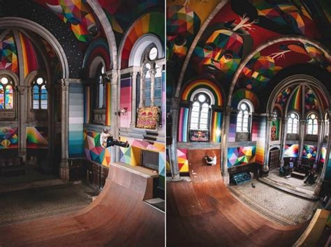 Kaos Colourful Skateboarding colorful skatepark inside a church creative spotting