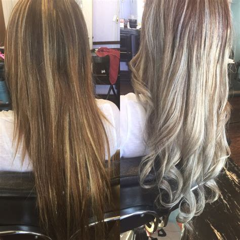 light frosted hair before and after a light frosted blonde balayage amazing
