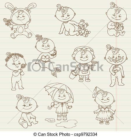 baby doodle drawings eps vector of baby doodles for design and