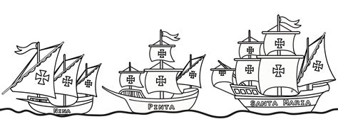 ship christopher columbus coloring pages with nina pinta
