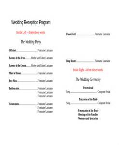 reception program templates 10 wedding program templates free sle exle