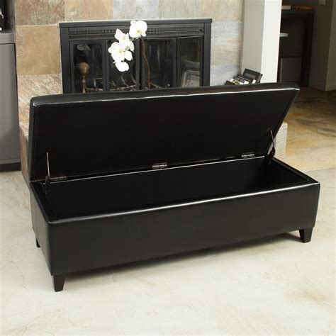 Black Leather Storage Ottoman Stratford Black Leather Storage Ottoman Bench Great Deal Furniture