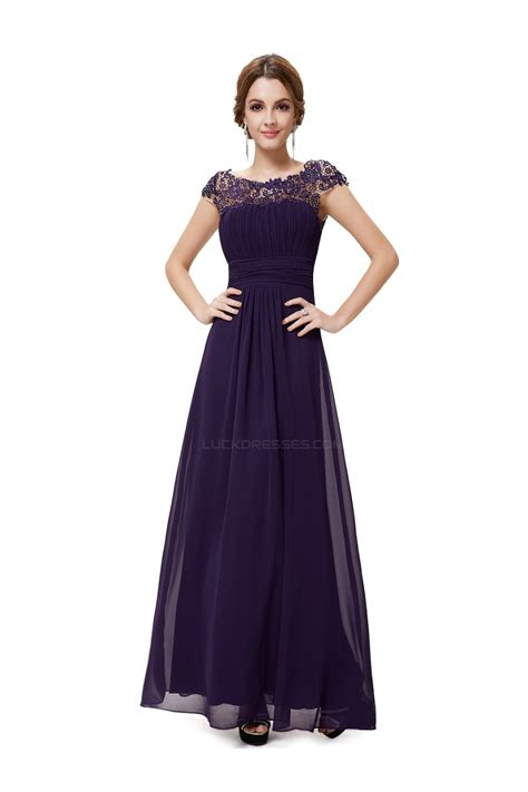 Sleeve A Line Chiffon Dress a line cap sleeve purple chiffon bridesmaid dresses