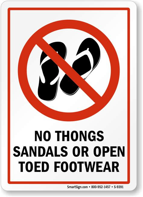slipper sign no thongs sandals or open toed footwear sign sku s 9391