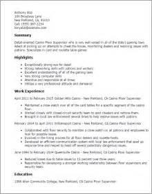 Resume Objective Supervisor by Professional Casino Floor Supervisor Templates To Showcase Your Talent Myperfectresume
