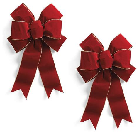 pre made burgundy outdoor bows set of two 18