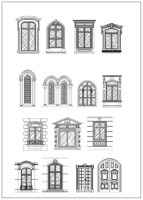 design center window autocad ornamental door window bundle cad design free cad