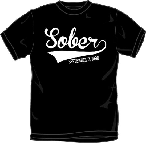 AA Sobriety T Shirts   Sobriety Date with Baseball Jersey Style Swoosh   T Shirts for anyone in
