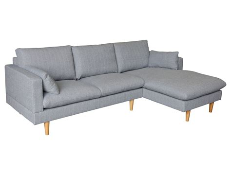 2 seater sofa with chaise new light grey tia 2 seater sofa with right chaise