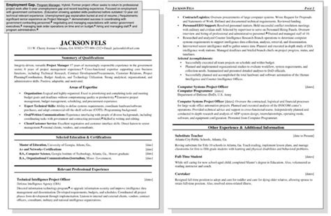 Resume Sles For Employment Gaps Sle Resume For A Worker With An Employment Gap Dummies