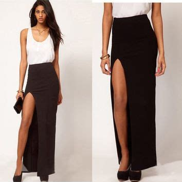 Rok Wanita Khloes Room Bodycon Cut Skirt chic slim womens side split maxi from activate2011store on