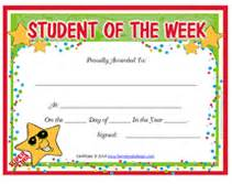 Student Of The Week Certificate Template Free by Printable Student Of The Week Awards School Certificates