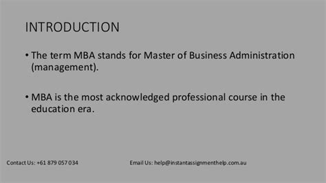 What Does Mba Stand For In Era by Mba Assignment Help Instant Assignment Help Australia