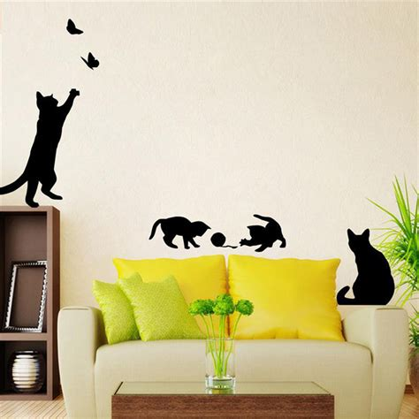 removable wall decals for bedroom cat play butterflies wall sticker removable decoration