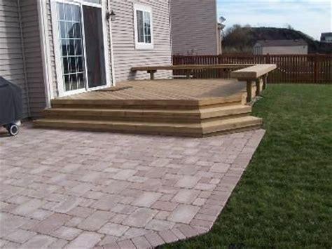 wood deck  steps   paver patio patio adjacent