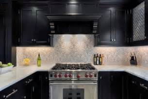 ornate patterned backsplash ideas with classic black kitchen cabinet for minimalist kitchen