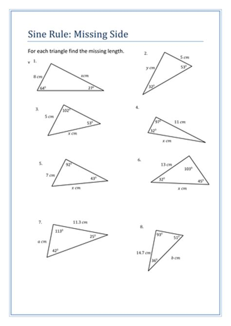 Trigonometry The Of Sines Worksheet Answers by Sine Rule Questions Sheet By Holyheadschool Teaching
