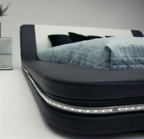 Marquee Contemporary Eco Leather Platform Bed With Led Lights Bed