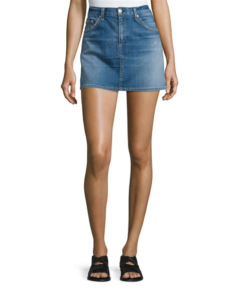 rag bone denim mini skirt in blue delancey save 26