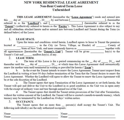 New York Lease Agreement Template New York Residential Tenancy Lease Agreement New York Rental New York State Lease Agreement Template
