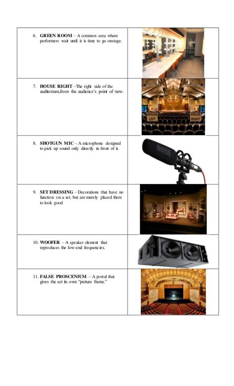 Technical Theater Vocabulary With Pictures demo technical vocabulary for drama and theater