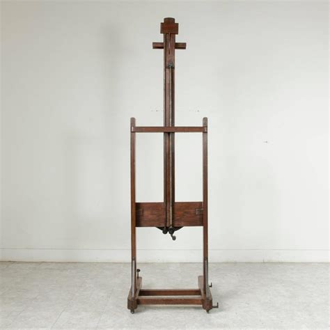 Easel Floor L Adjustable Two Ways 19th Century Oak Floor Easel With Crank For Sale At 1stdibs