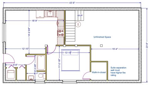 how to layout a basement 1056 sqft 24 x44 b new