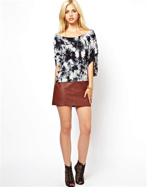 glamorous leather look mini skirt in brown brownpu lyst