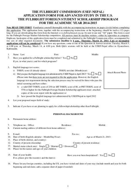 Scholarship Deserving Letter 2014 15 Fulbright Student Scholarship Application Form