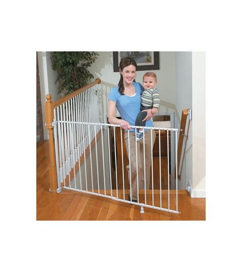top of stairs baby gate with banister summer infant sure secure extra tall top of stairs gate