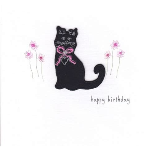 Cat Handmade - gift card birthday card black cat handmade