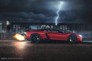 Lightning Car Photography Lamborghini Aventador Flaming Exhaust Battles Lightning