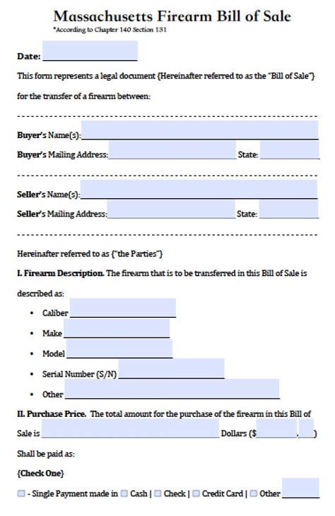 boat bill of sale template massachusetts free massachusetts firearm gun bill of sale form pdf