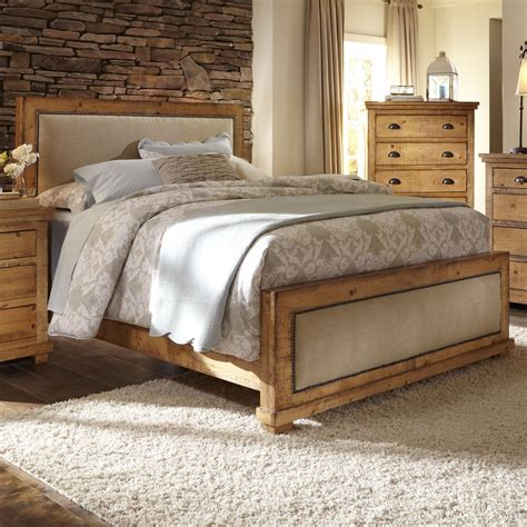 distressed pine bedroom furniture progressive furniture willow king upholstered bed with