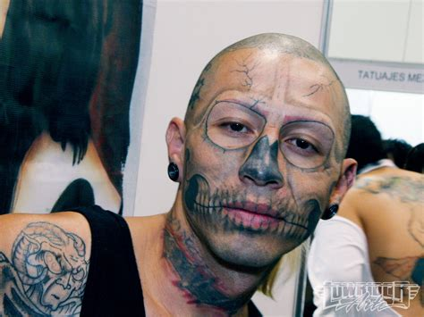 tattooed face skull