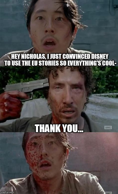 Glenn Walking Dead Meme - walking dead glenn nicholas thank you imgflip