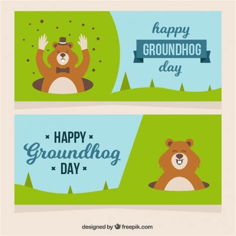 groundhog day free pretty groundhog day banners vector free